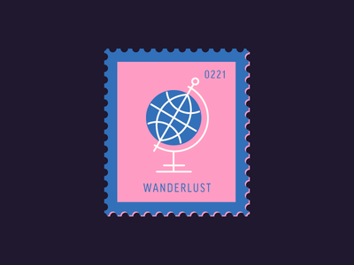 Wanderlust flat design travel globe vector icon design graphic illustration stamp postage daily postage