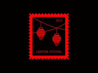 Lantern Festival red lantern vector icon design graphic illustration stamp postage daily postage