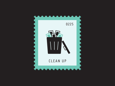 Clean Up trash can flat design vector icon graphic design illustration stamp postage daily postage