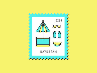 Daydream glasses flat design summer vacation beach vector icon graphic design illustration stamp postage daily postage