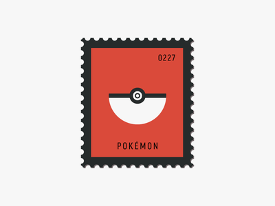 Pokémon flat design poke ball vector icon design graphic illustration stamp postage daily postage