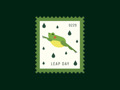 Leap Day graphic design flat icon leap frog vector icon illustration stamp postage daily postage