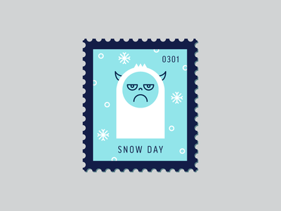 Snow Day illustration winter character line icon yeti snowflake vector icon stamp postage daily postage