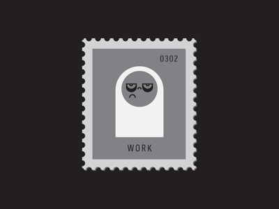 Work illustration character line icon grumpy expression face vector icon stamp postage daily postage