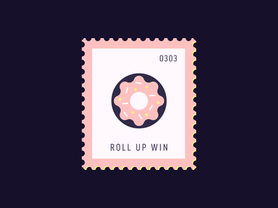 Roll Up Win dessert donut illustration vector icon stamp postage daily postage