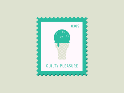 Guilty Pleasure pistachio graphic design sweets cone dessert ice cream vector icon illustration stamp postage daily postage