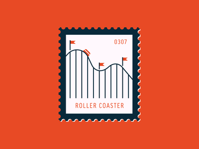 Roller Coaster theme park amusement park roller coaster vector icon graphic design illustration stamp postage daily postage