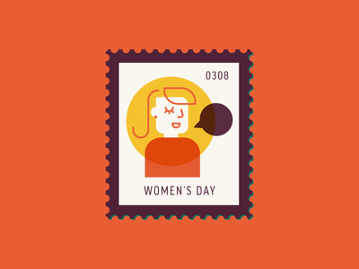 Women's Day woman character vector icon design graphic illustration stamp postage daily postage