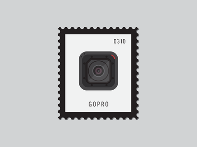 GoPro video camera gopro session gopro flat icon illustration icon stamp postage daily postage