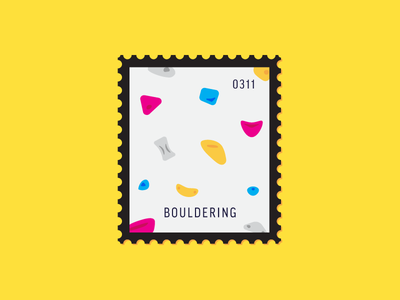 Bouldering sport indoor climbing rock climbing flat icon illustration icon stamp postage daily postage
