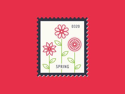 Spring line illustration floral leaf flower flat icon illustration icon stamp postage daily postage