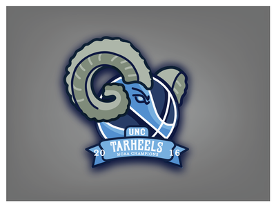 UNC Tar Heels | Ram That Ball animal ram blue northcarolina typography type illustration sports basketball ncaa