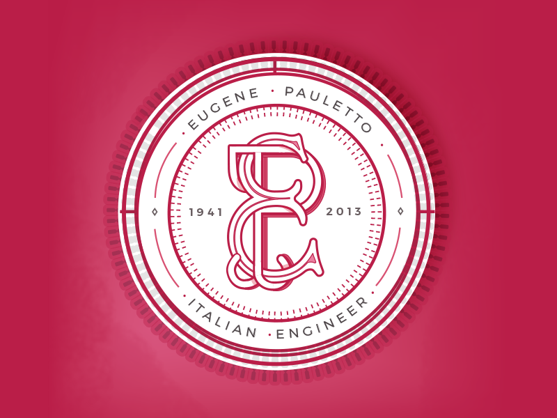 Eugene Pauletto grandfather initials handletter monogram red vector badge engineer illustration typography italy