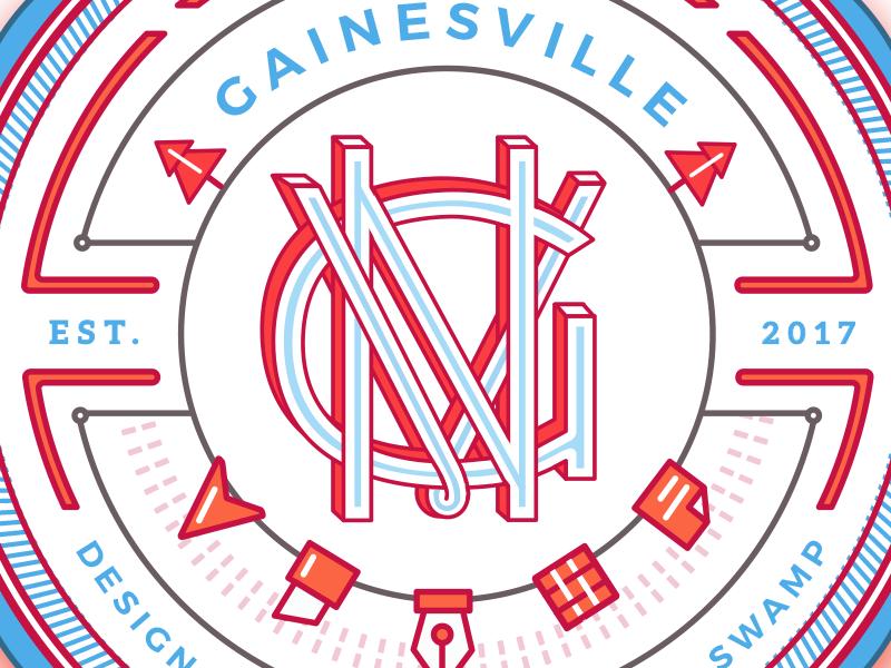 GNV Gainesville Monogram monotype circle typespire handtype handletter typography type monogram