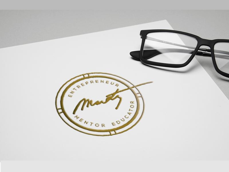 Martin Schaffel-Business Cards script signature stamp entrepreneur foil gold mark logo brand