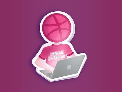 The Official Dribbbler Sticker stickermule playoff vector laptop pink design sticker dribbbler