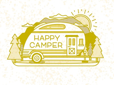 Happy Camper glamping carolina camper trees sunshine mountains gold typography happy camping