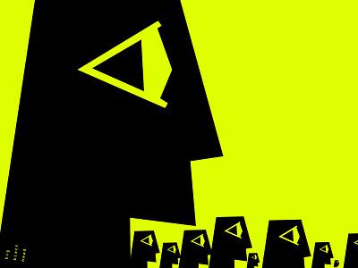 big black head studio studio agency people head man human flat minimalistic mini icon marketing market poster brand branding vector design illustration logo