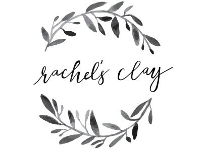 Rachel's Clay Part 3 brand identity hand lettering cursive watercolor logo