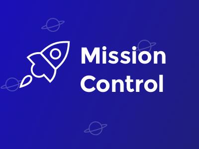 Mission Control startup blue gradient space rocket sans-serif concept brand