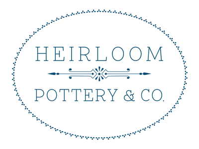 Heirloom Pottery & Co. blue identity brand logo slab serif 1920s ceramics pottery small business
