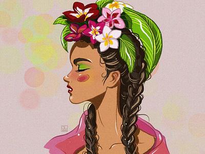 Hawaii girl hawaii drawing digital illustration girl character cartoon anime