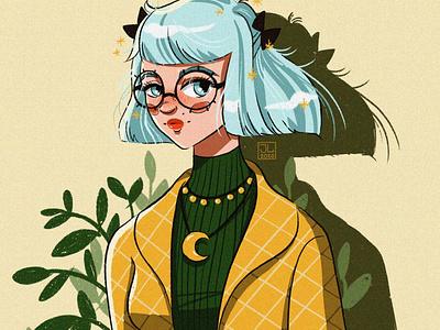 Girl with big glasses hawaii portrait drawing digital girl character cartoon anime