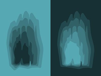Caves gradient graphic design design creepy illustration