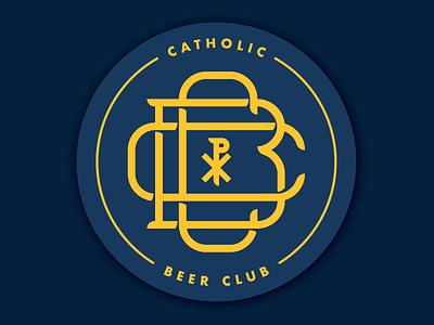 Catholic Beer Club typography lettering chi rho catholic beer coaster