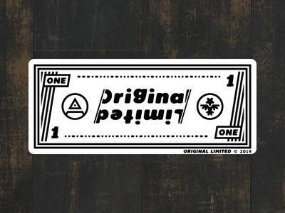 One Dollar - Original Limited Sticker lines illuminati currency money dollar one logo sticker typography branding vector illustration black white decal flat original limited