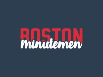 Boston Minutemen type branding design typography logo illustration vector navy redeye white decal flat bruins celtics red sox patriots minutemen boston