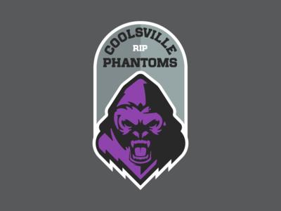 The Coolsville Phantoms Fantasy Football Logo death headstone tombstone black meme dicksout rip logo vector illustration white flat gray grey purple gorillaz silverback ghost gorilla harambe
