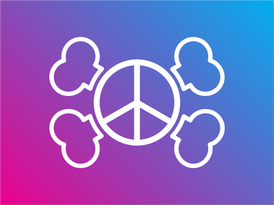 Snazzy Inc. peaceful blue pink gradiant design branding vector white peace tag logo tshirt snazzy snazzyinc peace sign jolly roger