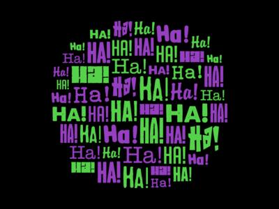 Haha Joker villain dc comic design branding typeface font type text typography flat illustration vector black purple green harley quinn batman joker haha