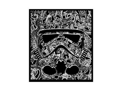 Paisley Trooper disney pattern paisley illustration black vector white flat black and white jedi sith starwars stormtrooper