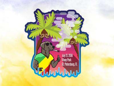 Reggae Rise Up 2018 (Collab Sticker) mr peanut butter tampa vector friends collaboration smoke palm tree rasta skulls coconut st pete bojack horseman sticker music festival raggae reggae rise up
