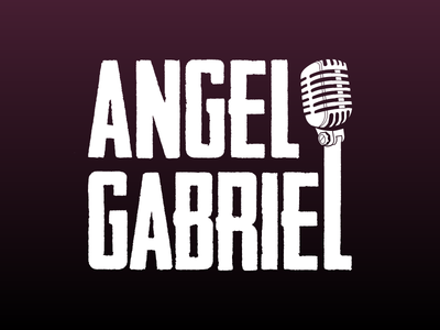 Angel Gabriel Logo social media facebook soundcloud music art friend mic white guitar acoustic singer microphone music typography branding logo flat vector