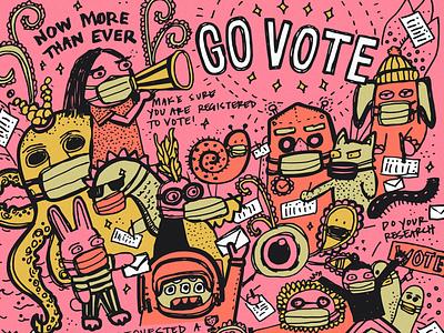 Go vote vote2020 vote colorful illustration