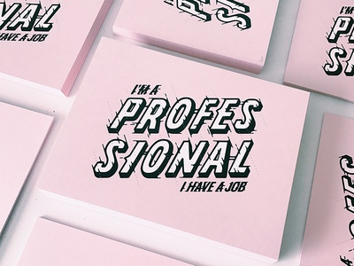 Professional screen printed bold pink typography screenprint lettering