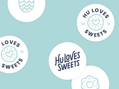 Hu Loves Sweets Logo 2 hand lettering illustration lettering cookies brand logo