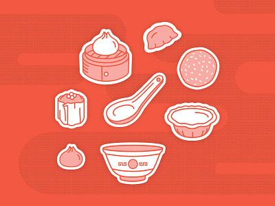 Sunday Dim Sum dumplings chinese food illustration dim sum