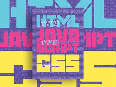 HTML Javascript CSS typography poster illustration design