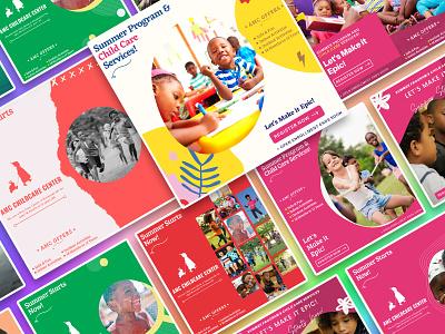 AMC Childcare Social media post instagram twitter facebook post social media smm design vector ui illustration design inspiration agency colorful