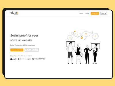 Landing page design for Afzet heroimage homepage branding minimal vector illustration css design ux ui