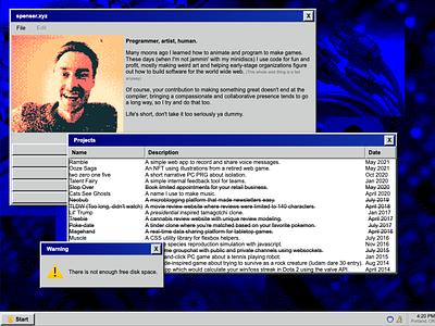 WinPorfolio98.exe napster javascript css html code windows 98 website retro portfolio