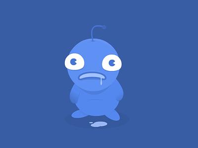 Bluup creature monster cute rebound drool gradient vector character blue