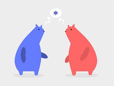 Bear Thoughts cartoon animals blue red minimalist vector illustration knack bear bears