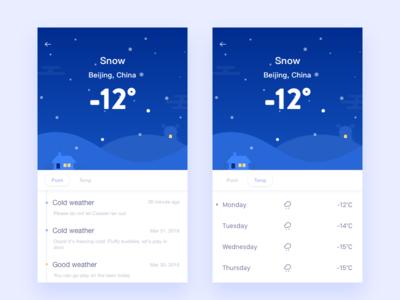 Poof /Weather app,weather illustration interface ios rainy seasons snow timeline ui