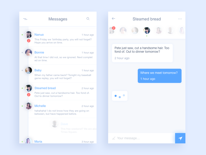 Messages ui sketch messages icon data chat app