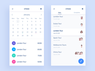 Stroke travel calendar ui sketch messages icon data app